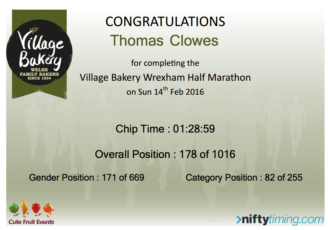 Race Report: Village Bakery Wrexham Half