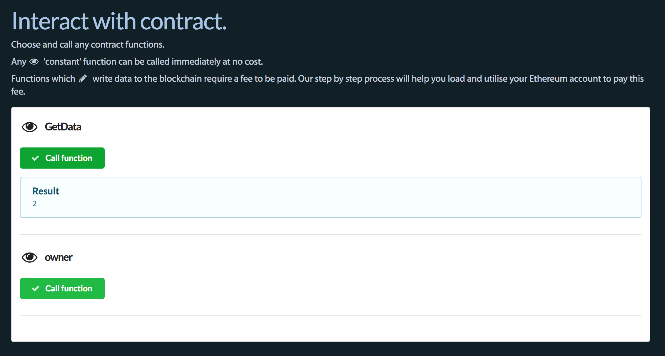 Interact with a contract from your browser