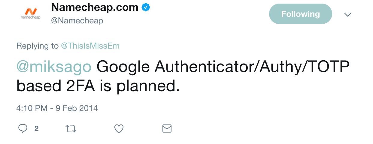 Namecheap FINALLY have secure 2FA
