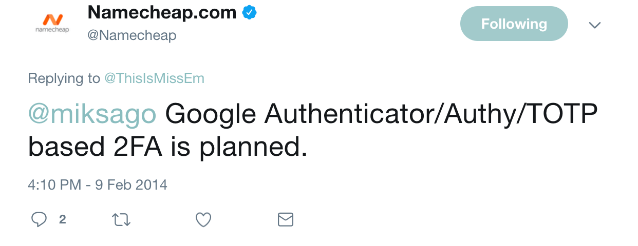 Namecheap 2FA Tweet