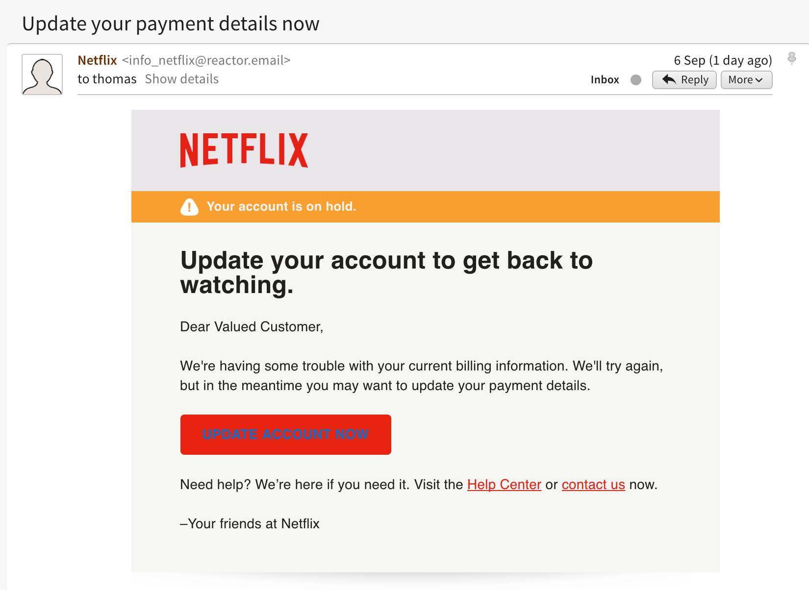 Phishing emails - Netflix