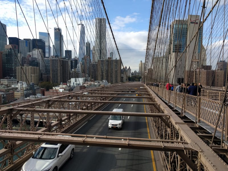 A view of Manhattan from the Brooklyn Bridge