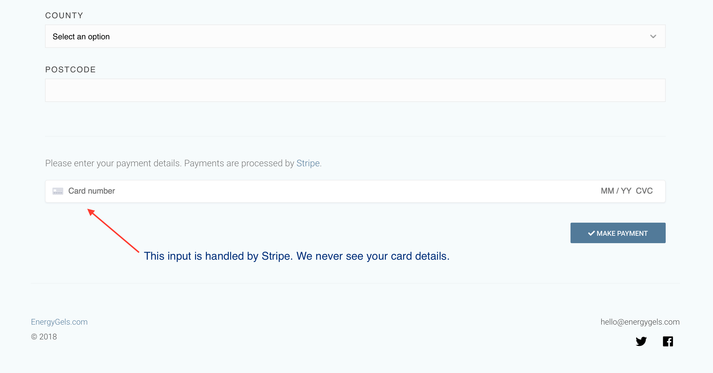 Payments are handled by Stripe