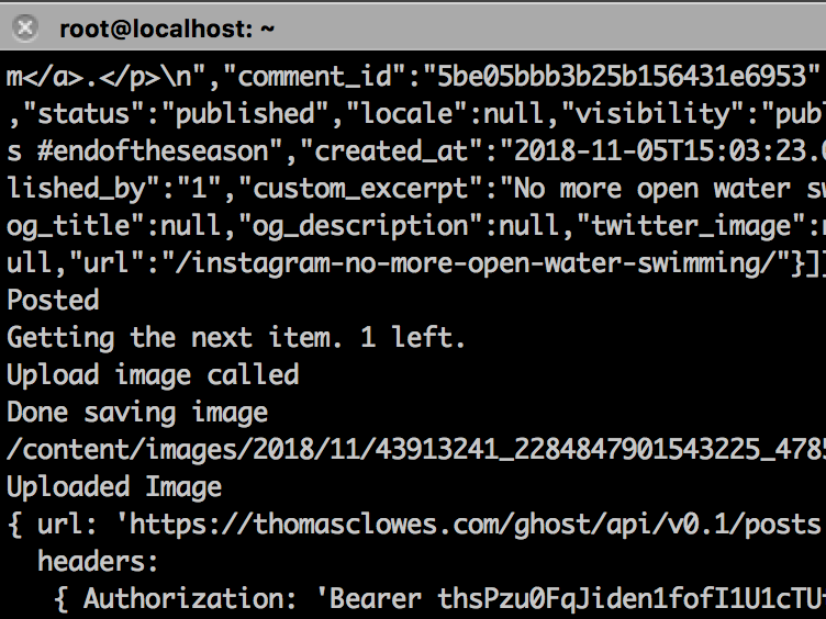 Instagram-to-ghost Console Output