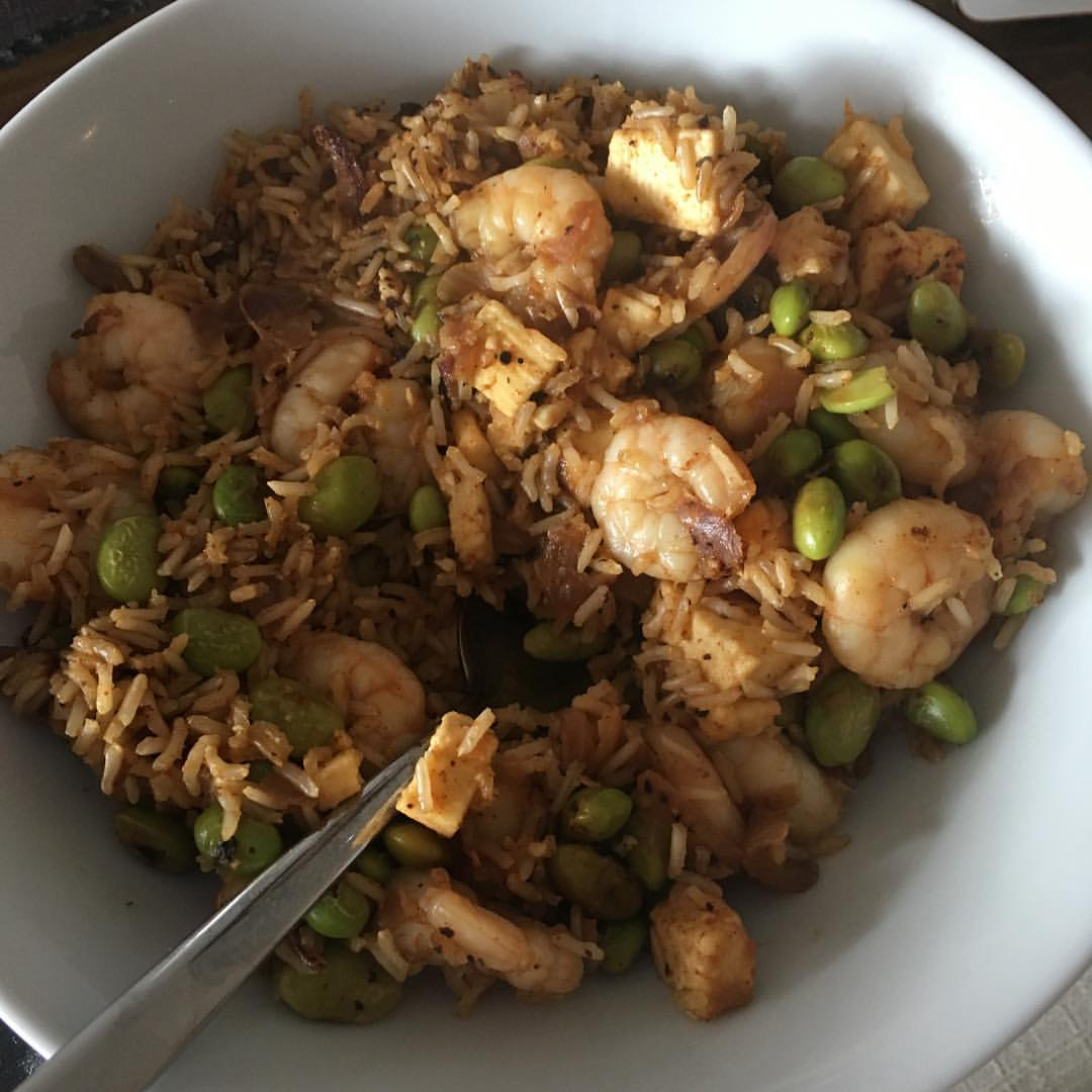 Cajun prawn rice stir fry thing