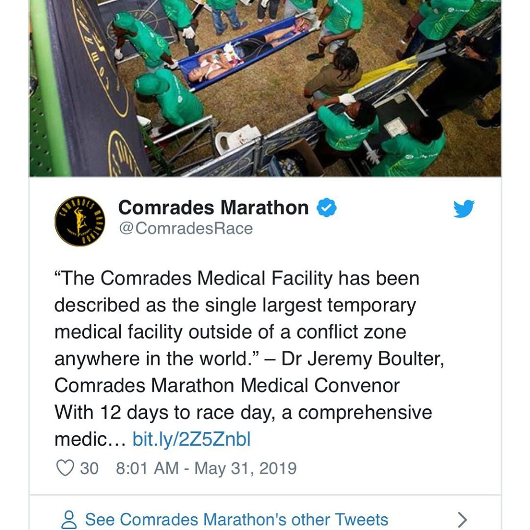 "By the sounds of it I don't need a reservation: ""The Comrades Medical Facility has been described as the single largest temporary medical facility outside of a conflict zone anywhere in the world"